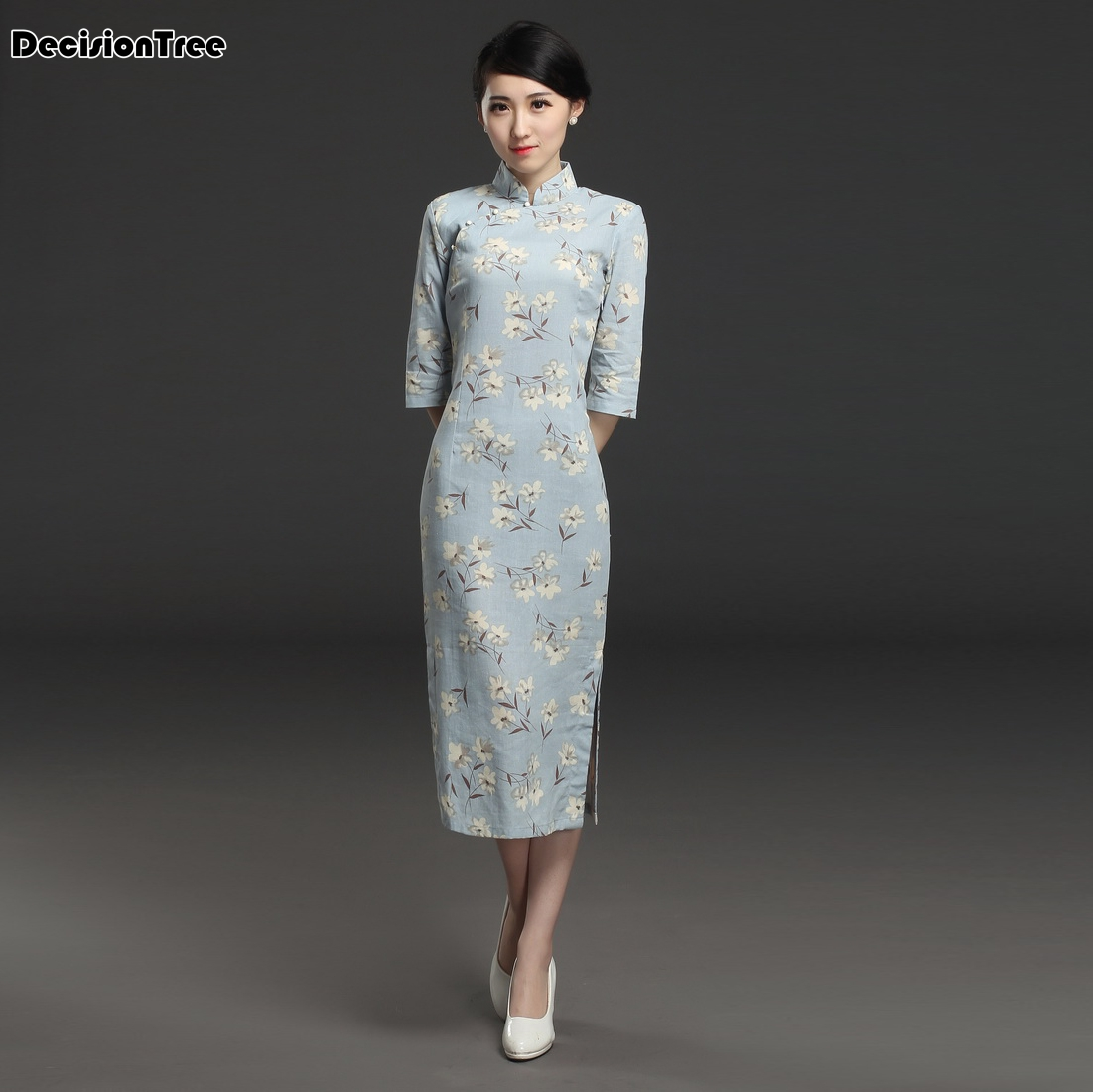 2019 Cheongsam Floral Qipao Chinese Traditional Dress Women's Satin Cheongsam Qipao Short Sleeve Long Dress Flower Print