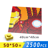 Iron Man Isometric Pixel Art Bricks 1x1 Mini Square Building Blocks Wall portraits DIY Home Decoration Compatible With L*goes