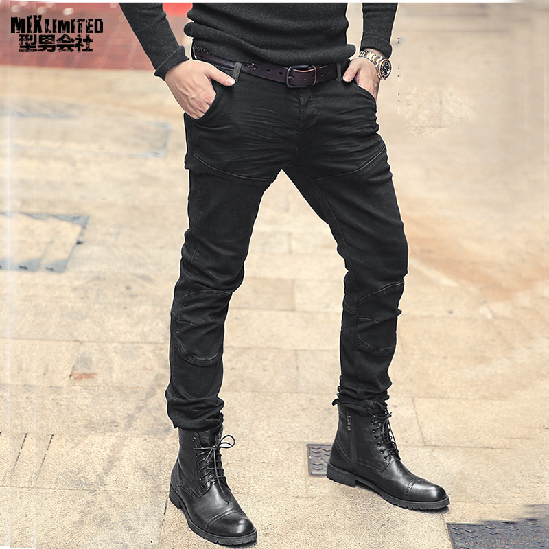 Men Autumn Winter New Style Waist Matching Black Straight Tube Slim Jeans Fashion Men's Button Fly Pleated Retro Jeans K755