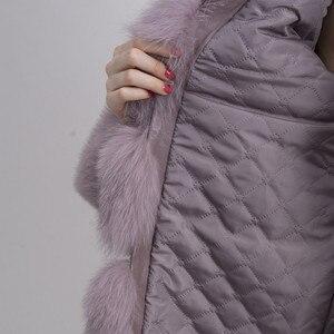 Image 5 - QIUCHEN PJ8142 2020  winter 70cm women real fox fur coat with fox fur collar long sleeves coat genuine fox outfit high quality