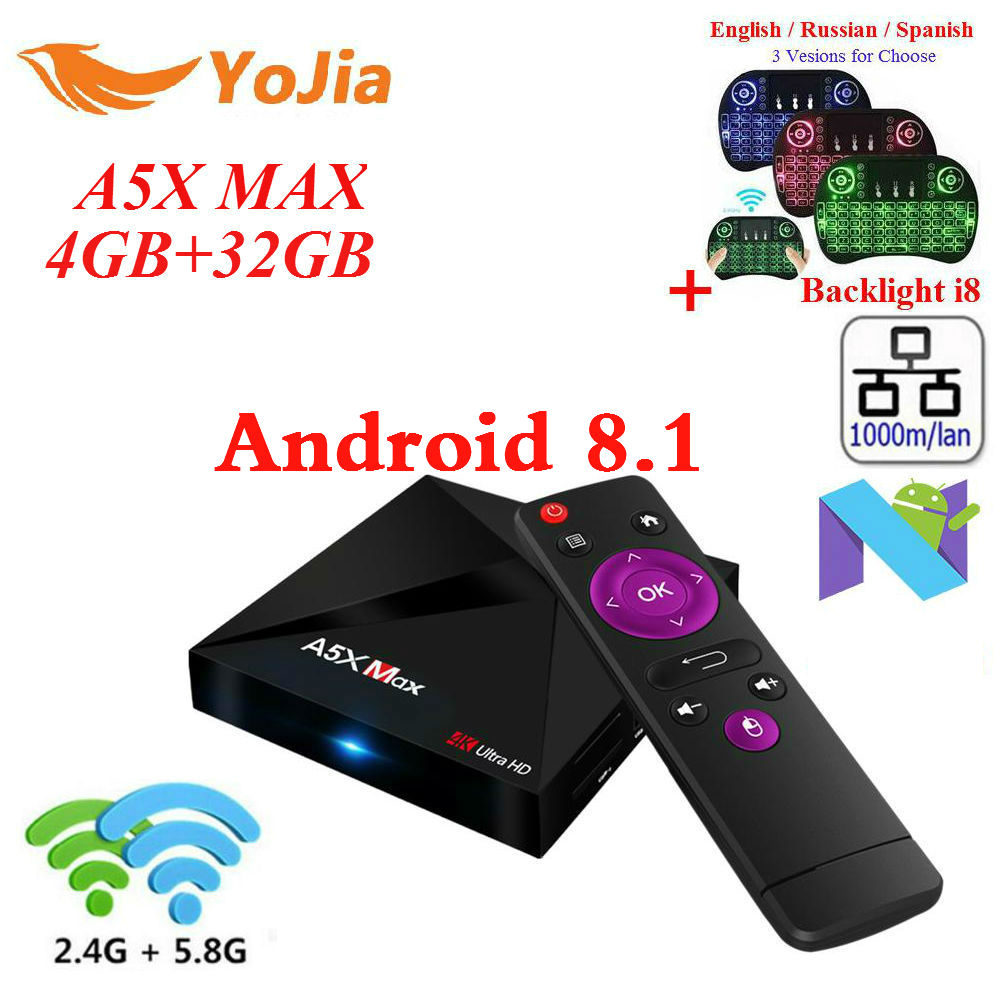 RK3328 A5X Max Android 8.1 TV Box 4G/16G 32GB 2.4G/5G Dual WiFi 1000M Optional BT4.1 A5X Max + Plus set top box Media Player