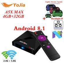 RK3328 A5X Max Android 8.1 TV Box 4G/16G 32GB 2.4G/5G Dual WiFi 1000M Optional BT4.1 A5X Max + Plus set top box Media Player
