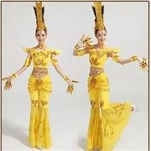 Взрослый танцевальный костюм, Классический танцевальный костюм, Китайский народный танцевальный костюм для выступлений, Avalokitesvara, костюмы TB1042