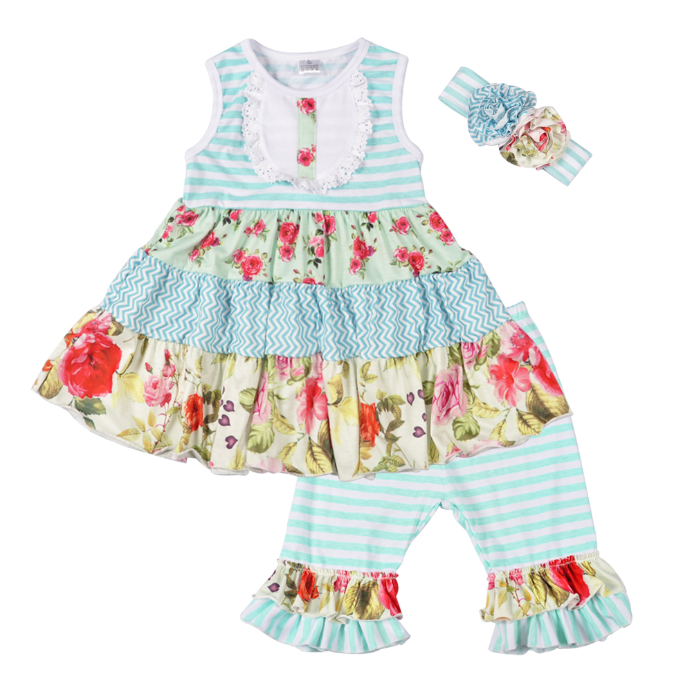 New Design Kids Summer Outfits Floral Swing Top Ruffles Shorts Boutique Matching Headband Cotton Clothing Sets 2GK801-097 2016 summer baby child girls outfits ruffles shorts white striped watermelon boutique ruffles clothes kids matching headband set