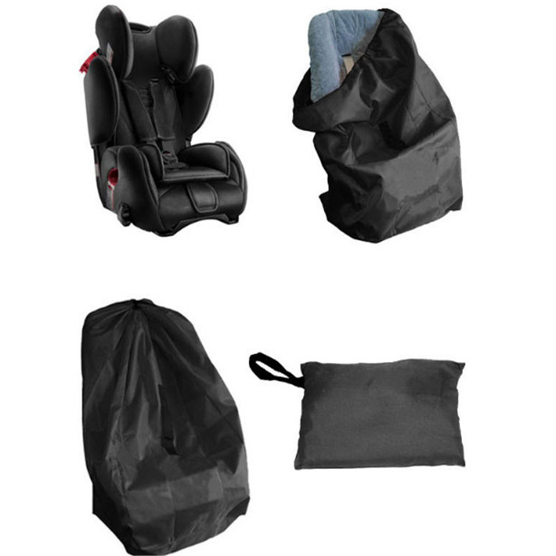 Portable Car Seat Travel Bag For Baby Black Car Safety Seat Dust Sun Protection Cover Bag Stroller Oxford Cloth Bag Accessories