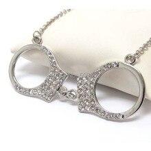 Один Модный комплект из двух предметов: plantium покрытые сплавом из 3,9 см ювелирные изделия с подвеской-наручниками кулон Цепочки и ожерелья xy112