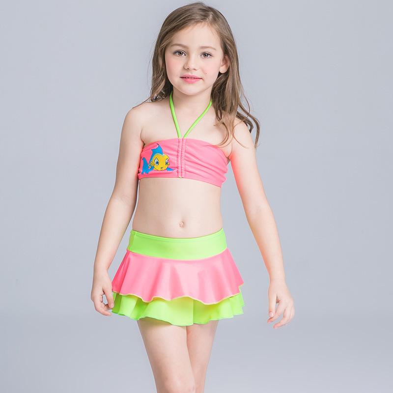 2017 New Summer Childrens Bikini With Skirt Design Cute -8076