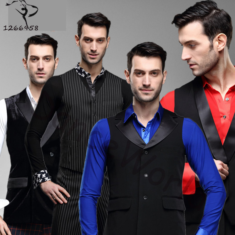 2018 New Arrival Men Latin/ballroom Dance Wear Sleeveless Suit Vest Cha Cha/rumba/samba Tops Dancewear