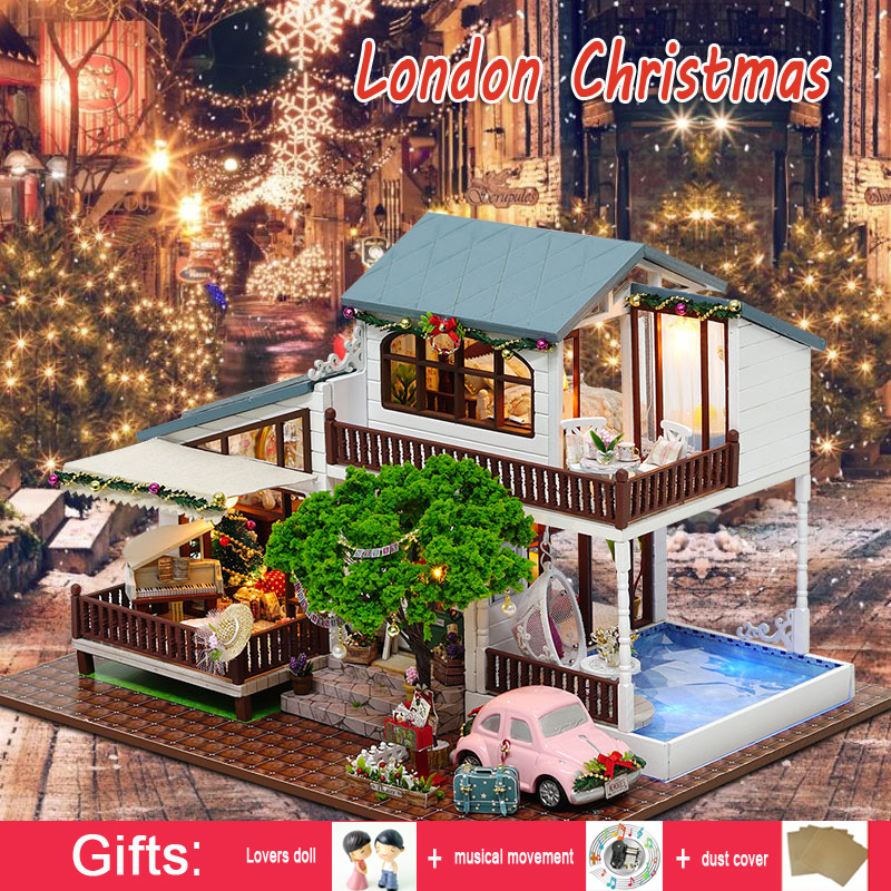 DIY Wooden Doll house Large Miniature House CHRISTMAS COTTAGE DollHouse with Dust Cover Model Kits Toy House Girl Toys Gift