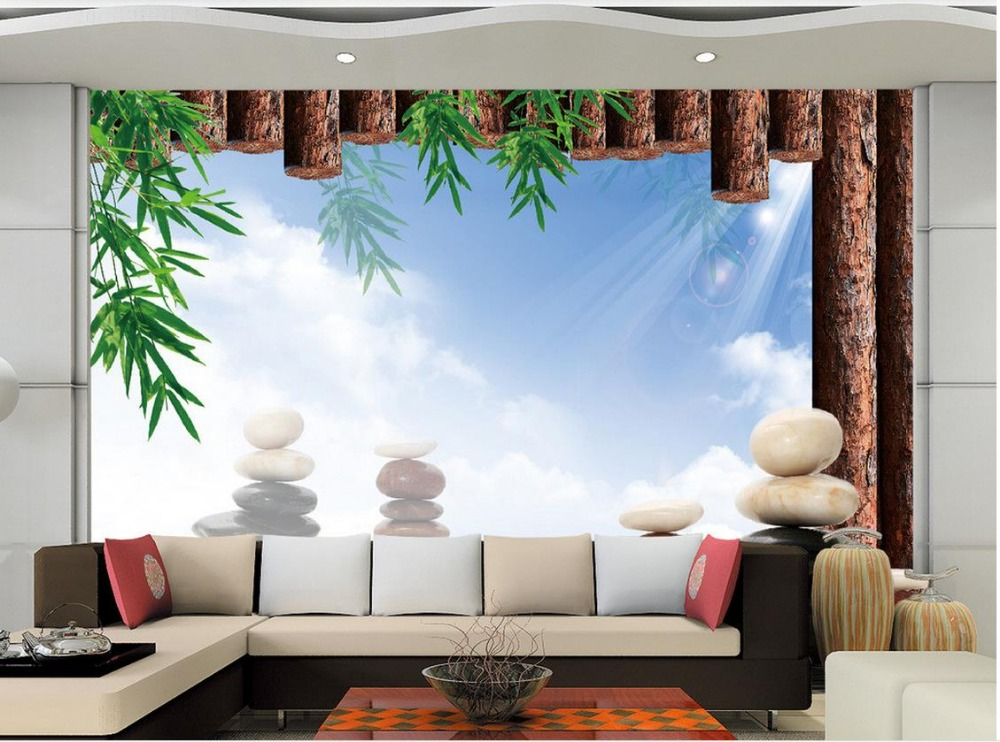 Buy 3d mural designs bamboo stone living for 3d wallpaper in room
