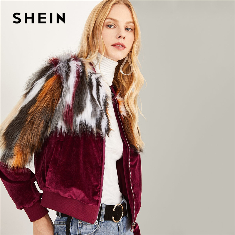 SHEIN Multicolor Elegant Office Lady Zipper Up Colorful Faux Fur Jacket 2018 Autumn Streetwear Workwear Women