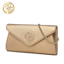 Pmsix 2017 fashion gold chain handbag envelope clutch cowhide wild female fashion  women dbags  P210017