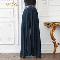 VOA тяжелый шелк офисные Широкие штаны Плиссированные Длинные брюки Высокая талия плюс Размеры 5XL Для женщин Повседневное одноцветное Темно