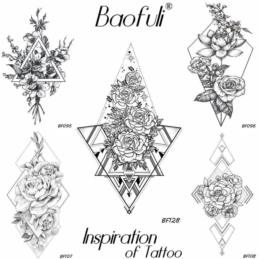 геометрические треугольные татуировки временные розы татуировки цветы