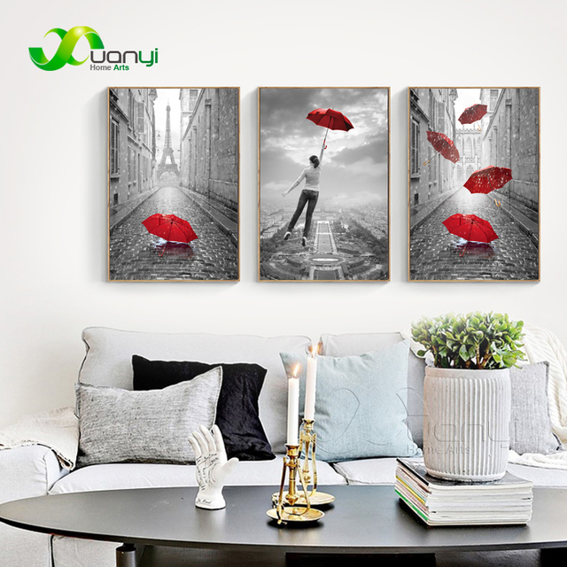 Wall Art Canvas Prints 3 Pieces Abstract Paris Eiffel Tower ...