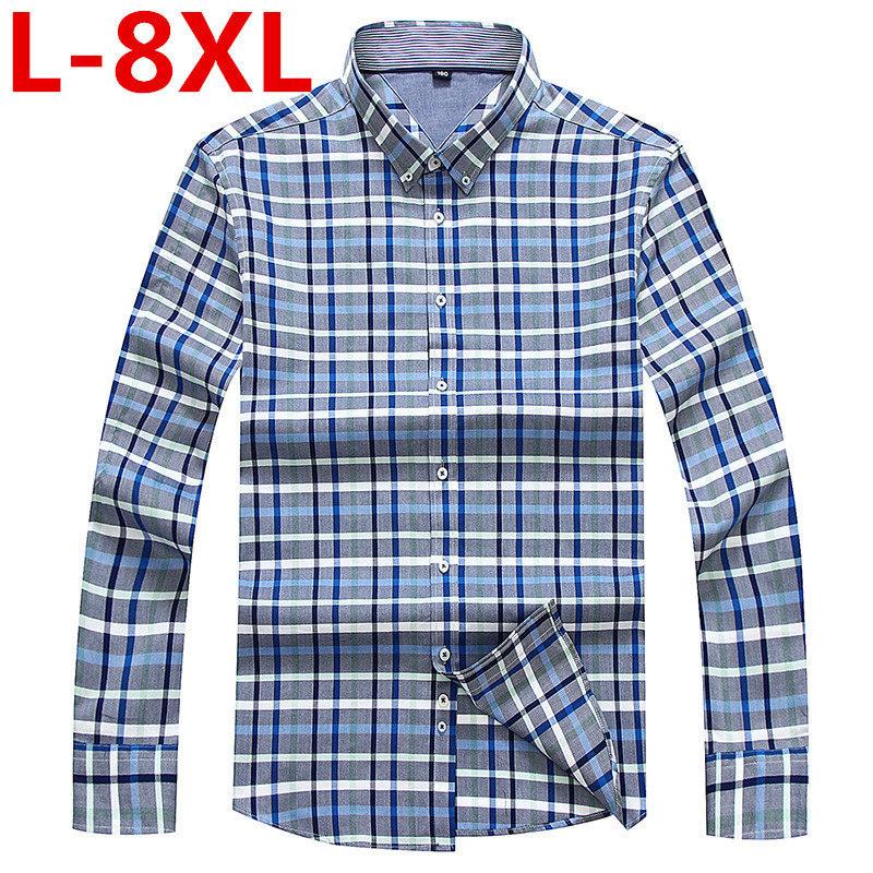 Plus size 8XL 7XL 6XL Mens shirt Long Sleeve Shirt Mens Dress Shirts Brand Casual Fashion Business Style Shirts 100% Cotton big