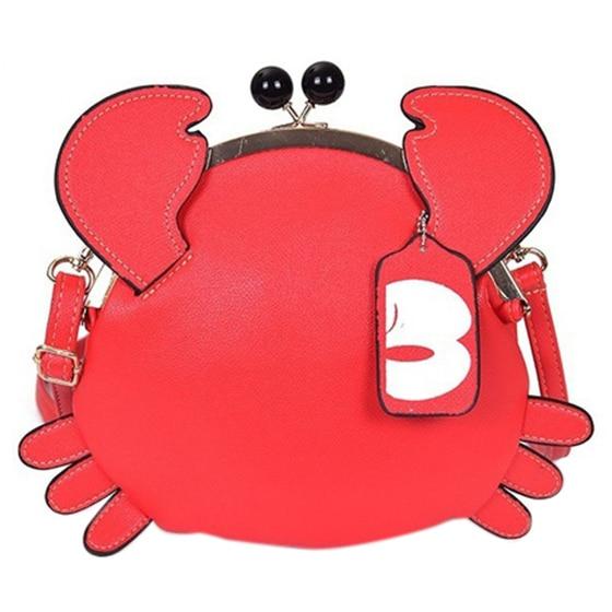 Fashion Boutique Novelty Cute Crab Bag Unique Design Ladies Animal Messenger Bag Women Bag Crossbody Shoulder Bag Gift for Girls cute bear print and tassel design crossbody bag for women