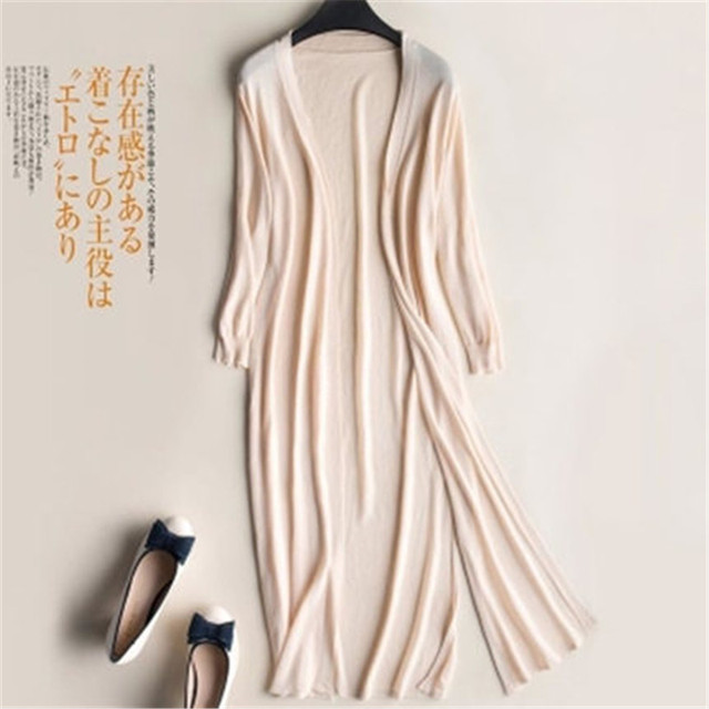 2019 Summer Autumn Women Midi Long Cardigan Casual Loose Thin Silk Knitted Cardigans Female Sweater Coat Jacket Plus Size PZ1544