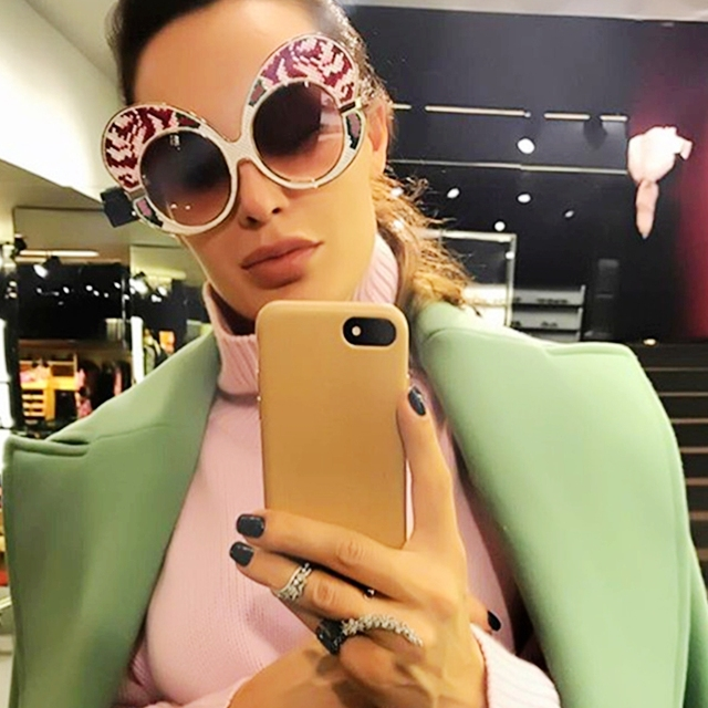 2017 sunglasses women brand designer Butterfly Big Frame unique sunglasses Women Metal men sunglasses steampunk sunglasses