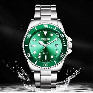 Image 3 - WLITH2019relogio masculino роскошные серебряные мужские кварцевые часы из нержавеющей стали спортивные водонепроницаемые мужские часы для отдыха и бизнеса