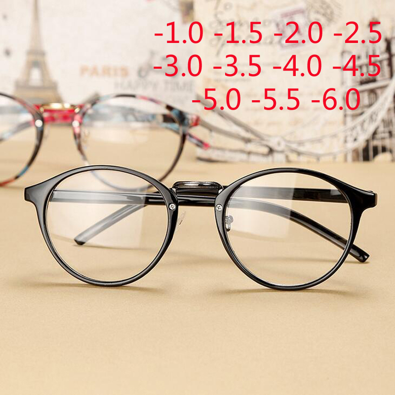 Myopia Eyeglasses Round Retro Ultra-Light Women Finished-1-1.5-2-2.5-3-3.5-4-4.5-5-6