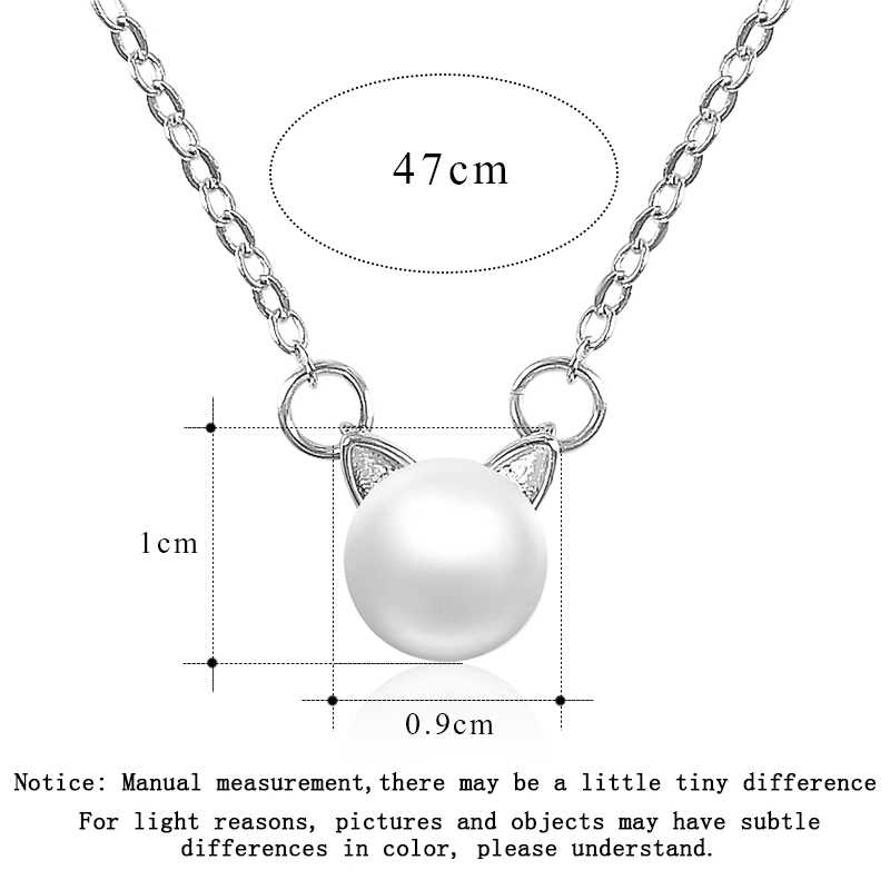 SR:FINEJ Fashion Korean Jewelry Simulated Pearl Necklace Bracelet Open Ring Sweet Cute Cat Ear Design Jewelry Sets For Women
