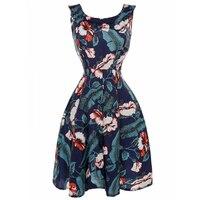 2017 Plus גודל XXL נשים ללא שרוולים קיץ בציר שמלה פרחונית הדפסת 1950 s Midi שמלות רוקבילי Pinup מזדמן באורך הברך
