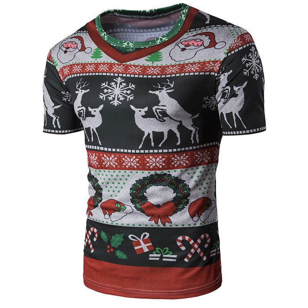 dd7a778eb1da4 Feitong Men Christmas T Shirts Plus Size Printing Tees Shirt Short Sleeve  Round Neck T Shirt