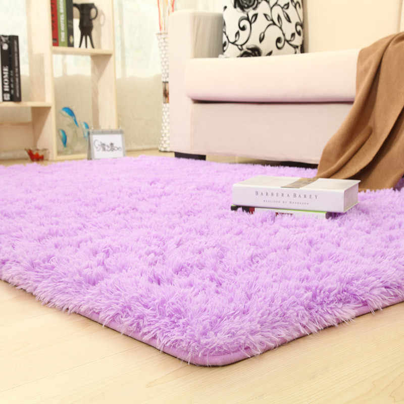 Tapetes sólidos coloridos tapete mais grosso banheiro antiderrapante tapete de área para sala de estar macio para criança crianças quarto rosa branco