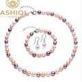 ASHIQI sistemas de La Joyería de Perlas Naturales 7-8 MM Multicolor de Agua Dulce de Arroz Collar de Perlas Pulsera Pendientes de plata 925