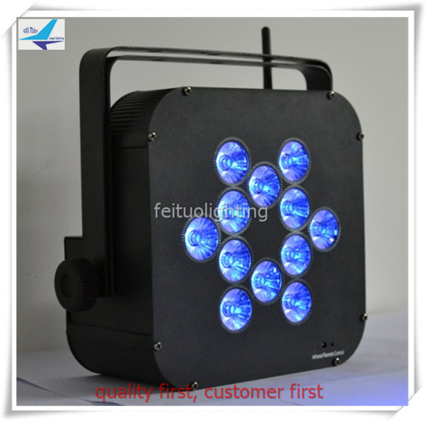 Free shipping (8lights with fly case) 12x18w 7IN1 battery led flat par light wedding light/party uplihgt