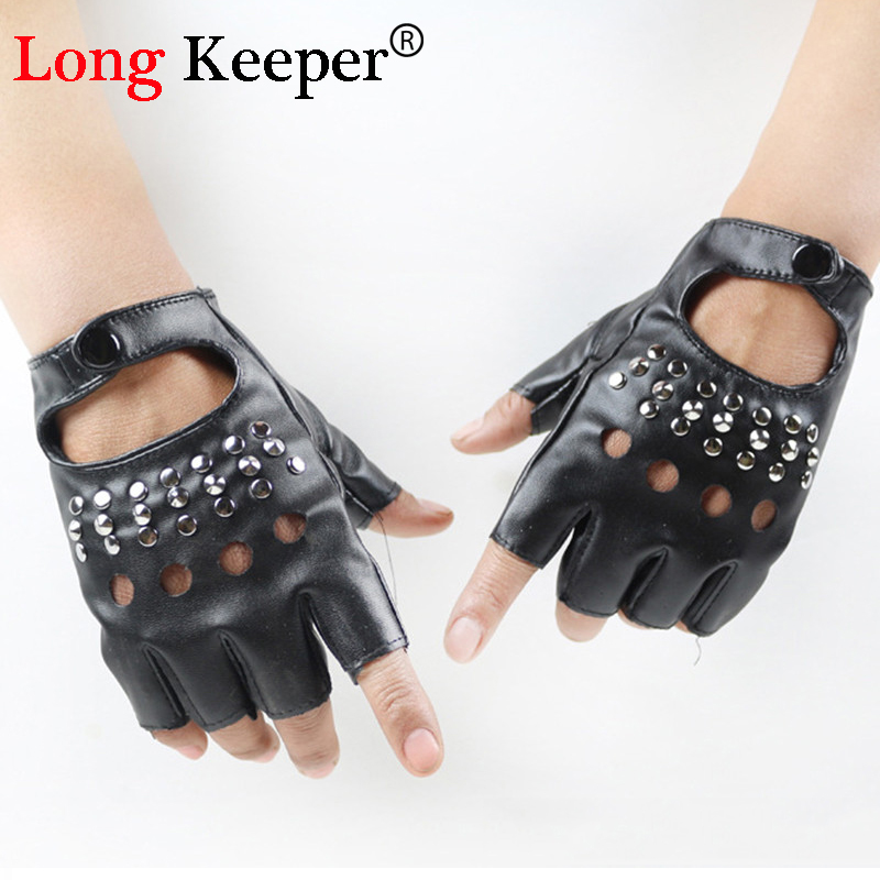 Long Keeper Sexy Gloves For Women Party Show Leather Gloves Without Fingers Female Fingerless Gloves Black Mittens Star GK113