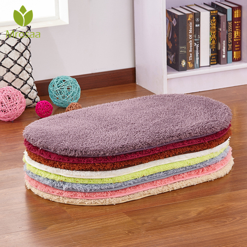 Mrosaa 40x60cm 부드러운 목욕 매트 침실 욕실 카펫 플러시 매트 슬립 방지 패드 타원형 도어 매트 물 흡수 바닥 매트