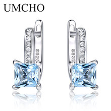 UMCHO Sky Blue Topaz Gemstone Jewelry Sets for Women Clip Earrings Solid 925 Sterling Silver Fashion Wholesale Wedding Gift