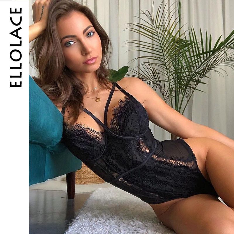 Ellolace Lace Black Bodysuit Body for Women   Rompers   Transparent Sexy Womens Jumpsuit Female Playsuit Bodycon Body Overalls Femme