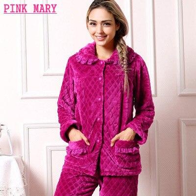 ffaa1943d05 Plus Size Women Flannel Thich Fleece Pajamas Sets Winter Coral Fleece Long  Sleeve Pyjamas Feminino For