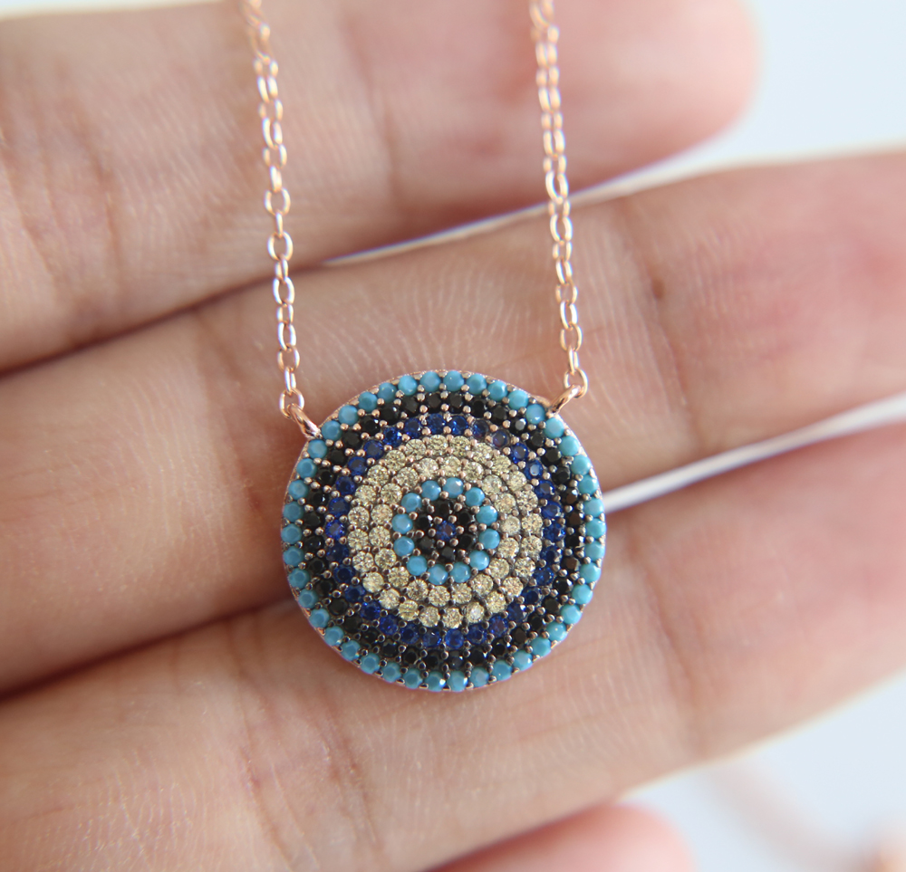 High quality 2017 100% 925 sterling silver pave nano turquoises rose fashion luxury women choker cz necklace