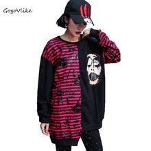 Women hoodies sweatshirt female jumper Striped 2019 Spring Irregular Letter Pullovers Patchwork Tops Hip Hop Punk Rock LT522S50