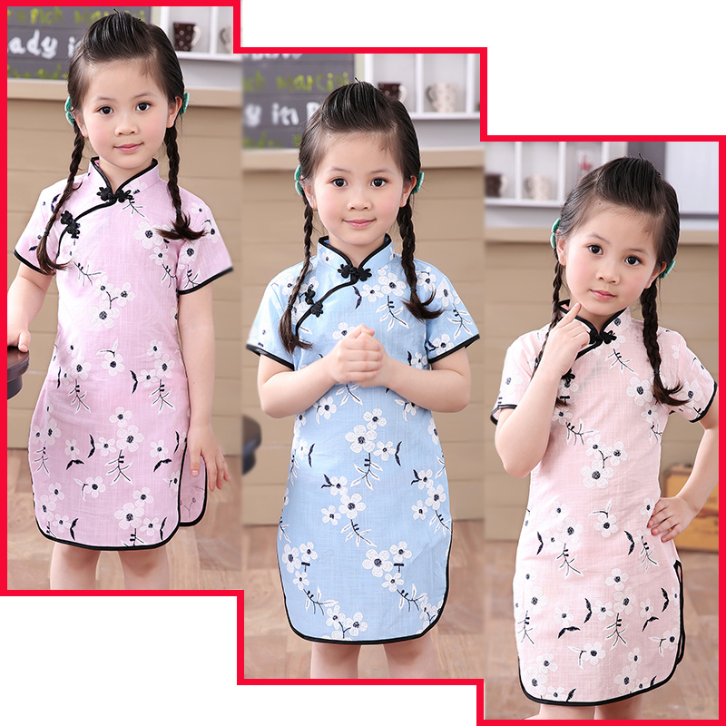Plum Club Flower Baby Girls Dress Chinese Traditional Children Qipao Dresses For Girl Cheongsam LinenClothes Kids Vestidos Tops chinese style traditional girls winter dress child tang suit embroidery cheongsam dresses robe baby qipao for new year dresses