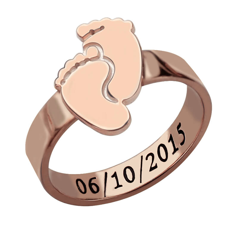 AILIN Personalized Baby Feet Ring Rose Gold Color Engrave Name&Date Ring Cute Baby Footprint New Mom Gift Mother's Ring rose gold color baby feet ring with birthstone engraved mother ring gift for new mom