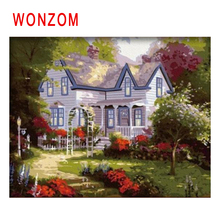 WONZOM Suburb Diy Painting By Numbers Road Oil Garden Cuadros Decoracion Acrylic Paint On Canvas Modern Villa Wall Art