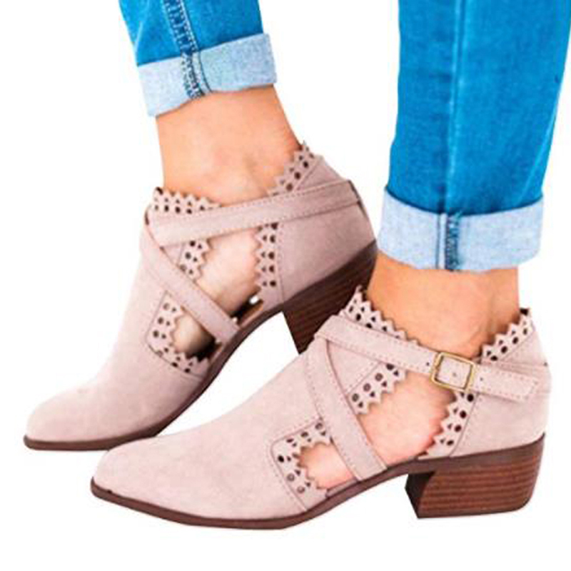 2019 New Ladies Gladiator Short Boots Low Heel Thick With Carved Buckle Buckle Womens Boots Womens Shoes Large Size 35-432019 New Ladies Gladiator Short Boots Low Heel Thick With Carved Buckle Buckle Womens Boots Womens Shoes Large Size 35-43