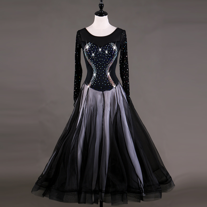 Sexy Modern Dance Dresses For Ladies Black Fabric Original Women Latino Ballroom Beauty Square Samba Tango Waltz Costumes Q4027