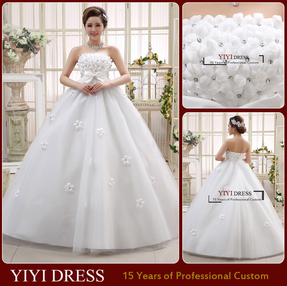 2015 New Wedding Dress High Quality Strapless Pregnant Bride Dress