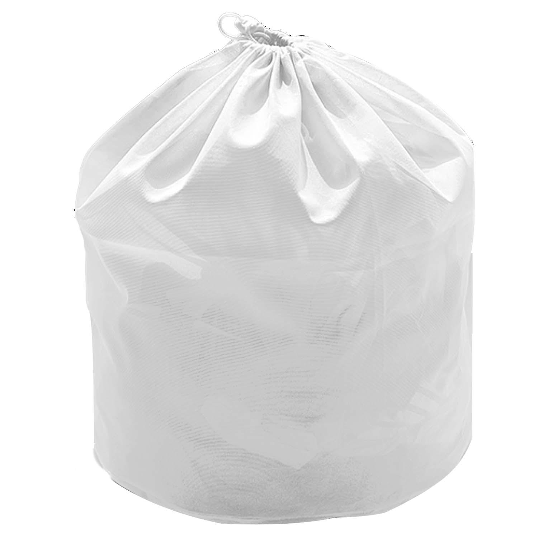 Polyester Big Mesh Drawstring Laundry Basket Washing Bag Clothes Clothing Organizer Storage Wash Bag Travel Carrying Bag White