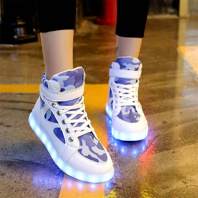 2018 Korean colorful waterproof shoes men and women usb charging led luminous shoes fluorescent shoes flash ghost-foot shoes ...