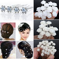 20/40PCS Wedding Bridal Pearl Hair Pins Flower Crystal Hair Clips Bridesmaid Jewelry 5 Styles hairpin Wholesale Free Shipping