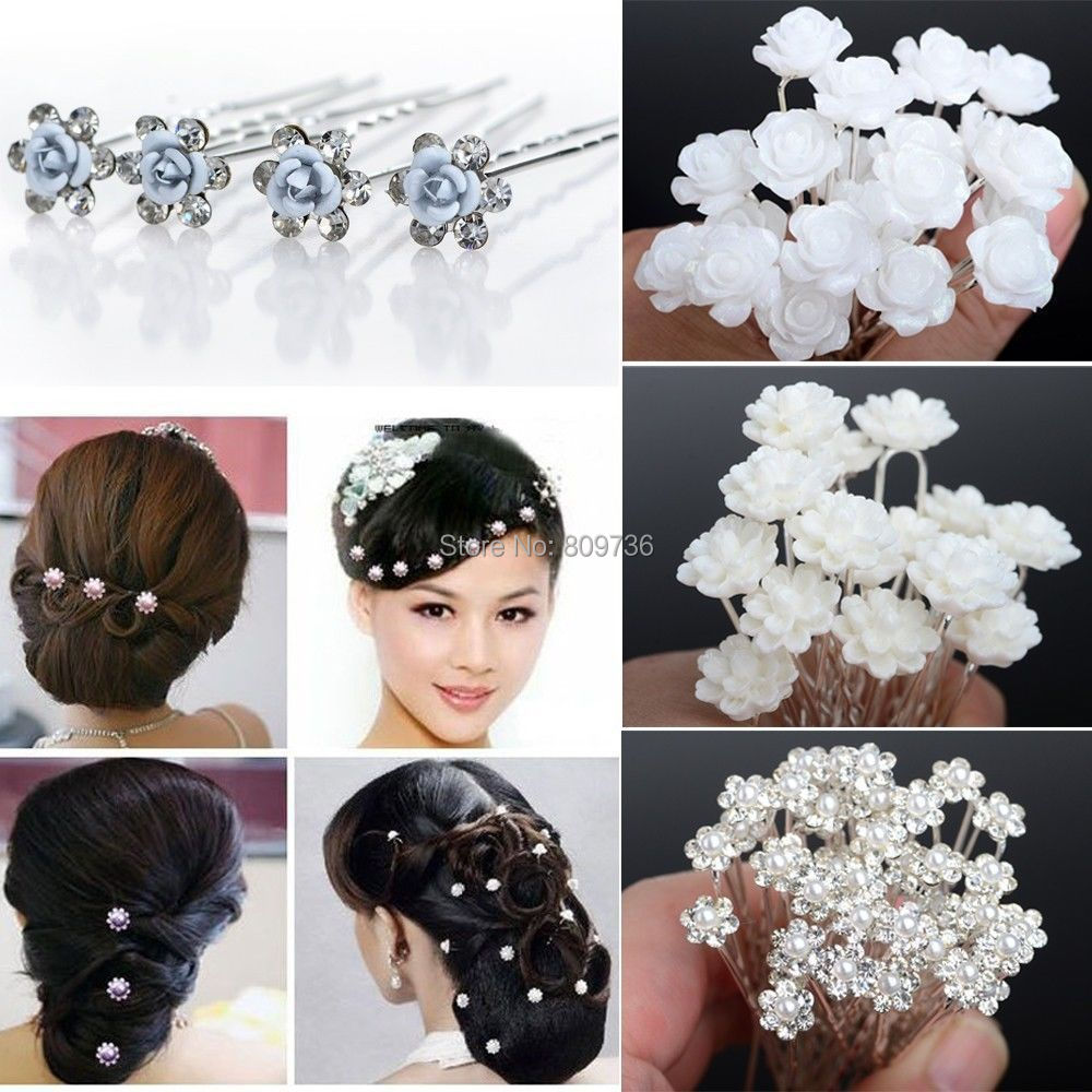 20 40pcs Wedding Bridal Pearl Hair Pins Flower Crystal