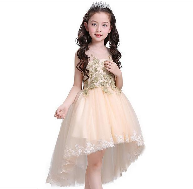 fd22d3c0c0cb Fashion New Girl Summer Clothes Wedding Dress Champagne Trailing Lace Flower  Girl Dress Princess Gown First Communion Dresses