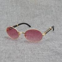 Natural White Black Buffalo Horn Sunglasses Men Round Wooden Eyewear Metal Frame Wood Clear Glasses Frame for Driving Summer